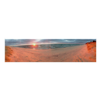 Panoramic Lake Michigan Sunset Poster