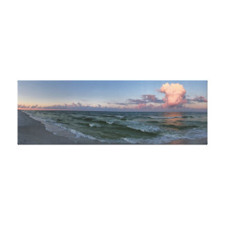Panoramic Morning Walk on the Beach Canvas