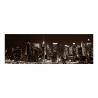 Panoramic Sepia Brown New York City Night Artwork Poster