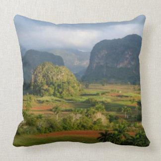 Panoramic valley landscape, Cuba Throw Pillow