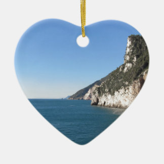 Panoramic view from Portovenere Ceramic Heart Ornament