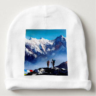 Panoramic View Of Ama Dablam Peak Everest Mountain Baby Beanie