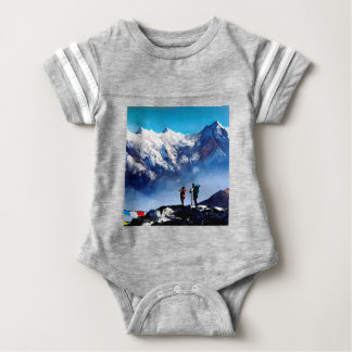 Panoramic View Of Ama Dablam Peak Everest Mountain Baby Bodysuit