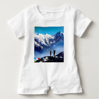 Panoramic View Of Ama Dablam Peak Everest Mountain Baby Romper
