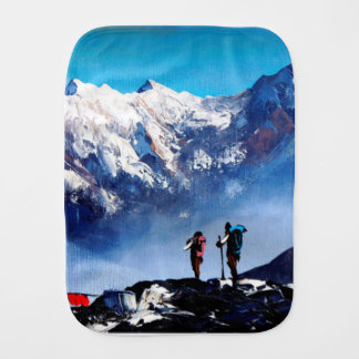 Panoramic View Of Ama Dablam Peak Everest Mountain Burp Cloth
