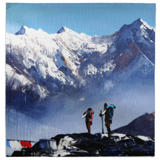 Panoramic View Of Ama Dablam Peak Everest Mountain Napkin