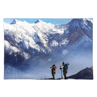 Panoramic View Of Ama Dablam Peak Everest Mountain Placemat