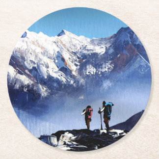 Panoramic View Of Ama Dablam Peak Everest Mountain Round Paper Coaster