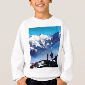 Panoramic View Of Ama Dablam Peak Everest Mountain Sweatshirt