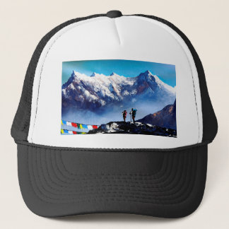 Panoramic View Of Ama Dablam Peak Everest Mountain Trucker Hat