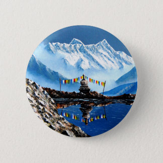 Panoramic View Of Annapurna Mountain Nepal 2 Inch Round Button