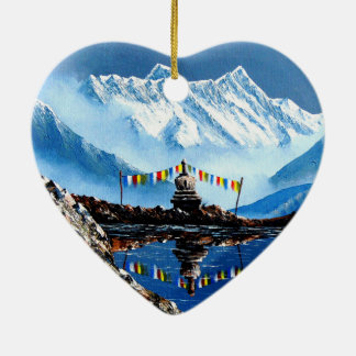 Panoramic View Of Annapurna Mountain Nepal Ceramic Ornament