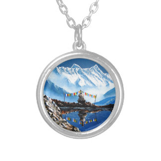 Panoramic View Of Annapurna Mountain Nepal Silver Plated Necklace