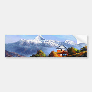 Panoramic View Of Beautiful Everest Mountain Bumper Sticker