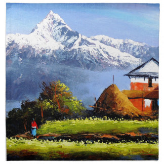 Panoramic View Of Beautiful Everest Mountain Cloth Napkins