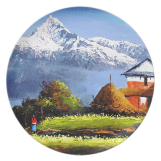 Panoramic View Of Beautiful Everest Mountain Dinner Plates