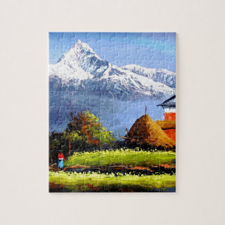 Panoramic View Of Beautiful Everest Mountain Jigsaw Puzzle