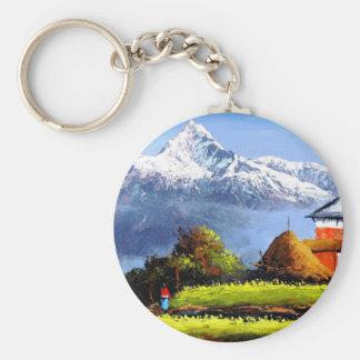 Panoramic View Of Beautiful Everest Mountain Keychain