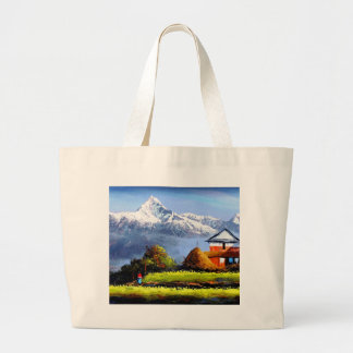 Panoramic View Of Beautiful Everest Mountain Large Tote Bag