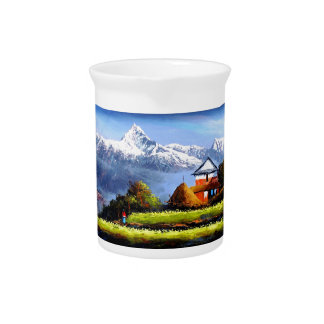 Panoramic View Of Beautiful Everest Mountain Pitcher