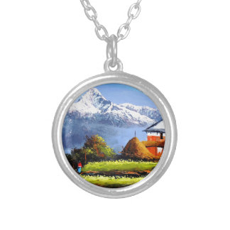 Panoramic View Of Beautiful Everest Mountain Silver Plated Necklace