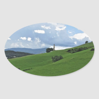 Panoramic view of Castelrotto Oval Sticker