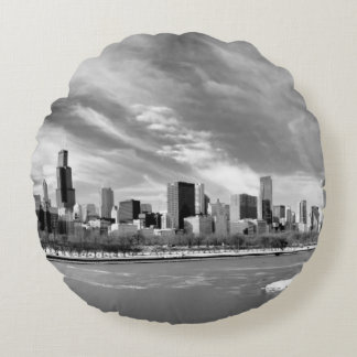 Panoramic view of Chicago skyline in winter Round Pillow