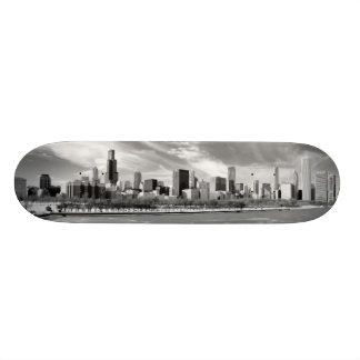 Panoramic view of Chicago skyline in winter Skate Decks