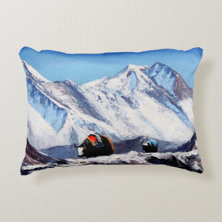 Panoramic View Of Everest Mountain Base Camp Area Decorative Pillow