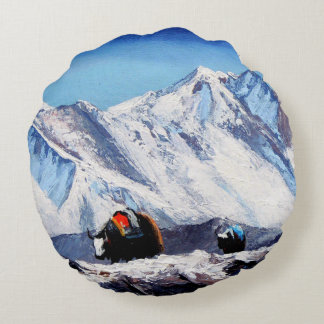 Panoramic View Of Everest Mountain Base Camp Area Round Pillow