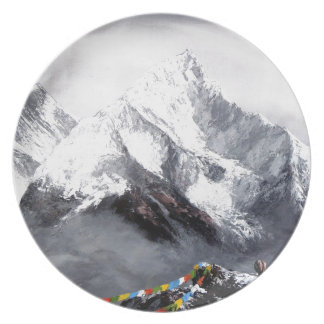 Panoramic View Of Everest Mountain Dinner Plates