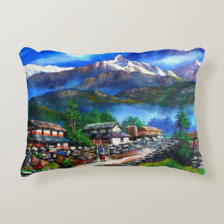 Panoramic View Of Everest Mountain Nepal Accent Pillow