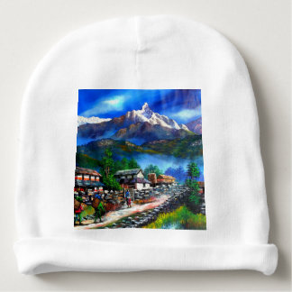 Panoramic View Of Everest Mountain Nepal Baby Beanie