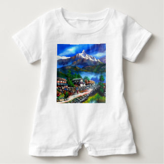 Panoramic View Of Everest Mountain Nepal Baby Romper