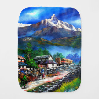 Panoramic View Of Everest Mountain Nepal Burp Cloth