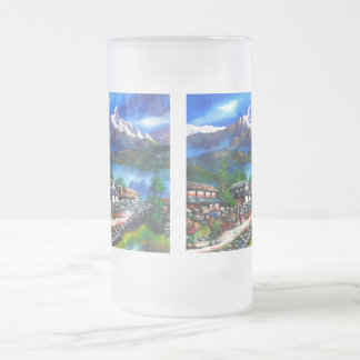 Panoramic View Of Everest Mountain Nepal Frosted Glass Beer Mug