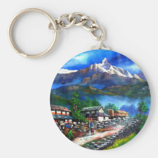 Panoramic View Of Everest Mountain Nepal Keychain