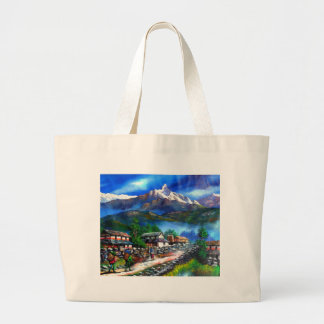 Panoramic View Of Everest Mountain Nepal Large Tote Bag