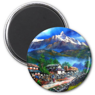 Panoramic View Of Everest Mountain Nepal Magnet