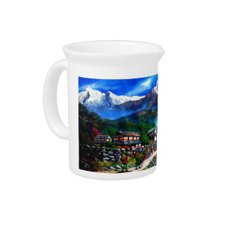 Panoramic View Of Everest Mountain Nepal Pitcher