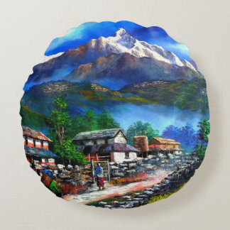 Panoramic View Of Everest Mountain Nepal Round Pillow