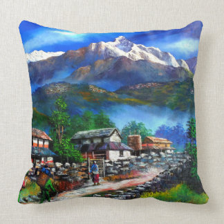 Panoramic View Of Everest Mountain Nepal Throw Pillow