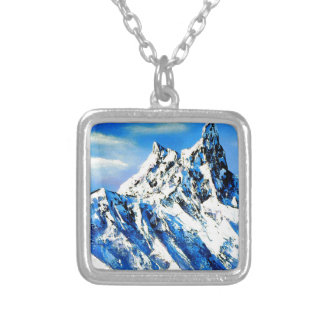 Panoramic View Of Everest Mountain Peak Silver Plated Necklace