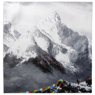 Panoramic View Of Everest Mountain Printed Napkins