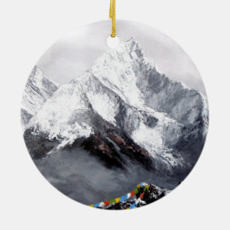 Panoramic View Of Everest Mountain Round Ceramic Ornament