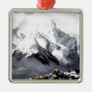 Panoramic View Of Everest Mountain Silver-Colored Square Ornament