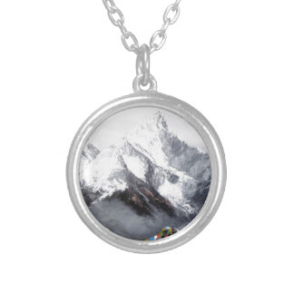 Panoramic View Of Everest Mountain Silver Plated Necklace
