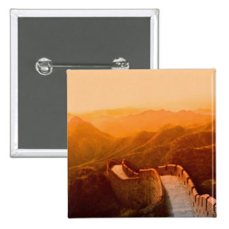 Panoramic view of Great Wall, China 2 Inch Square Button