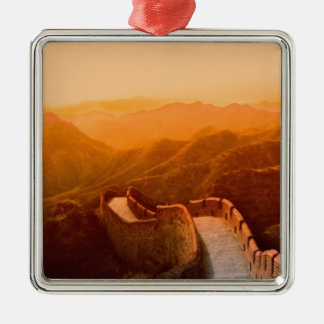 Panoramic view of Great Wall, China Silver-Colored Square Ornament