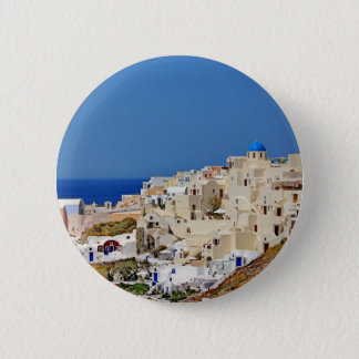 Panoramic view of Santorini 2 Inch Round Button